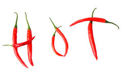 Hot written with peppers Royalty Free Stock Image