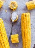 Hot yellow corn with salt, top view Royalty Free Stock Photos