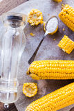 Hot yellow corn with salt, top view Royalty Free Stock Images