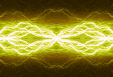 Hot yellow lightning Stock Images