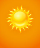 Hot yellow sun icon Royalty Free Stock Image