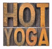 Hot yoga word abstract in wood type Stock Image