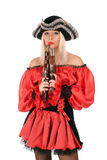 Hot young blonde with guns Royalty Free Stock Photography