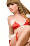 Hot young girl in red christmas lingerie Royalty Free Stock Photography