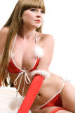 Hot young girl in red christmas lingerie Royalty Free Stock Images