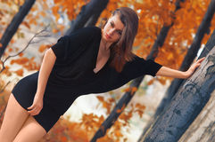 Hot young woman in autumn park Stock Photo