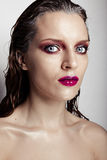Hot young woman model with sexy bright red lips makeup Royalty Free Stock Photography