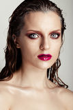 Hot young woman model with sexy bright red lips makeup Royalty Free Stock Photos