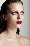 Hot young woman model with sexy bright red lips makeup Royalty Free Stock Photo