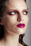 Hot young woman model with sexy bright red lips makeup Stock Photos