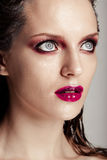 Hot young woman model with sexy bright red lips makeup Stock Images