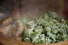 Hot zongzi. Keep hot for zongzi in the bamboo steamer Royalty Free Stock Photography