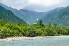 Hotaka Mountain and Azusa River in Kamikochi, Japan Stock Images