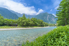 Hotaka Mountain and Azusa River in Kamikochi, Japan Stock Photography