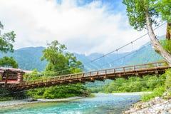 Hotaka Mountain and Kappa-bashi Bridge in Kamikochi, Japan Stock Photography