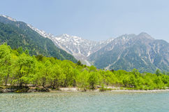 Hotaka mountain range and azusa river in spring at kamikochi nagano japan Royalty Free Stock Photography