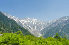 Hotaka mountain range and green tree in spring at kamikochi nagano japan Stock Photography