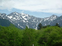Hotaka mountain range. Kamikochi is a beautiful valley among the mountains of the 3,000 meters grade Royalty Free Stock Photo