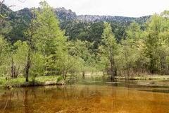Hotaka mountain range and taisho ike pond in spring at kamikochi national park nagano Royalty Free Stock Images