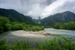 Hotaka mountains and Azusa river in Kamikochi Stock Photo