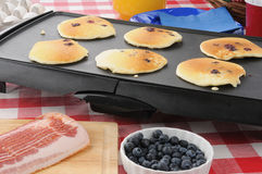Hotcakes cooking on the griddle. Blueberry pancakes cooking on the griddle Stock Image