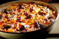 Hotchpotch with lamb. Roasted hotchpotch with lamb and potatoes royalty free stock images