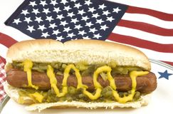 Hotdog with American Flag Royalty Free Stock Photography