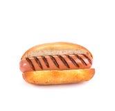 Hotdog auf Weiß mit Brötchen Stockfotografie