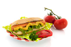 Hotdog with bread roll Royalty Free Stock Photography