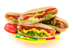 Hotdog with bread roll Stock Photos