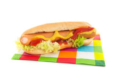 Hotdog with bread roll Royalty Free Stock Photo
