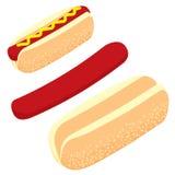 Hotdog, Brot, Wurst für Schnellimbiß Stockbild