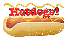 A hotdog in a bun with a label Stock Images