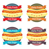 Hotdog Bun Label Set Royalty Free Stock Image