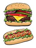 Hotdog and burger illustration fast food, royalty free illustration