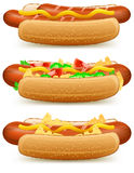 Hotdog with cheese and tomato Stock Image