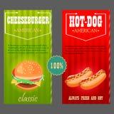 hotdog, cheeseburger het voedsel is traditionele Amerikaan Stock Afbeelding