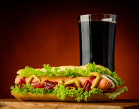 Hotdog and cola Royalty Free Stock Photography