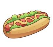 Hotdog com alface e mostarda Foto de Stock Royalty Free