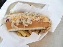 Hotdog com coberturas Imagem de Stock