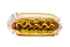 Hotdog com mostarda Fotos de Stock