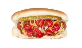Hotdog com os trabalhos foto de stock