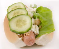 Hotdog with cucumber and mayonnaise Royalty Free Stock Images
