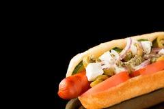 Hotdog in de lagere juiste hoek voor Royalty-vrije Stock Foto's