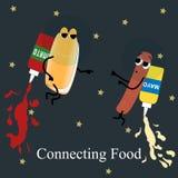 Hotdog do cartaz do fast food e maoy no espaço Foto de Stock