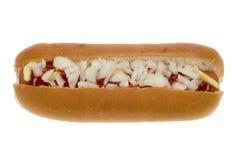 Hotdog in een broodje met saus stock foto