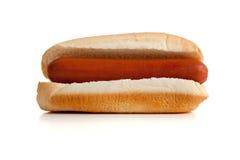 Hotdog en broodje op wit Royalty-vrije Stock Fotografie