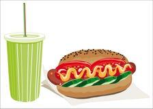 Hotdog en drank Stock Foto's