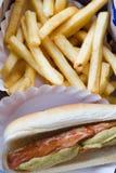 Hotdog en Gebraden gerechten Stock Afbeeldingen