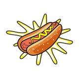 Hotdog Fast food liso isolado vetor da ilustração Fotos de Stock Royalty Free